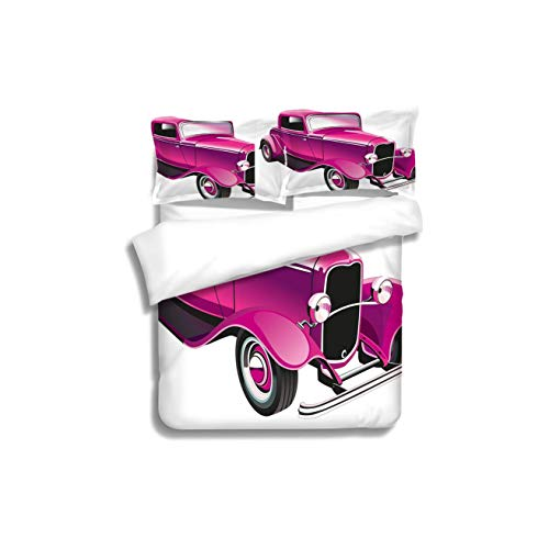 Duvet Cover Set Hot Pink Vintage Muscle Car Illustration Retro Revival Vehicle Engine American Decorative Magenta 3 Piece Bedding Set with Pillow Shams, Queen/Full, Dark Orange White Teal Coral