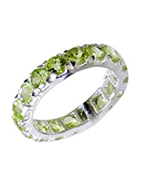Jewelryonclick Real Peridot Sterling Silver Promise Rings for Her Jewelry Gift Size 5,6,7,8,9,10,11,12