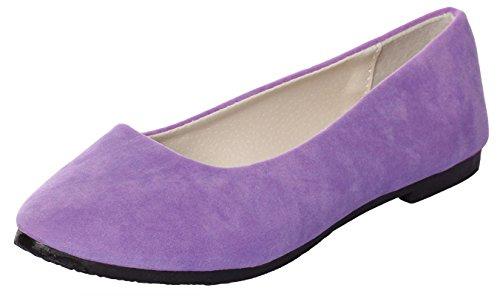 IF FEEL Women's Casual Pointy Toe Comfortable Purple Slip On Suede Ballerina Flats Shoes (6 B(M) US, Purple) (Tan Metallic Ballet Flats Shoes)