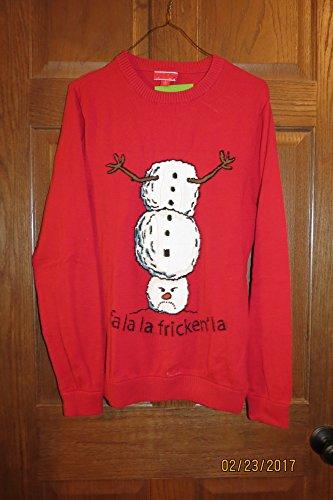 Ugly Christmas Sweater Upside Down Snowman Fa la la Fricken la Adult (Christmas Sweater Upside Down Snowman)