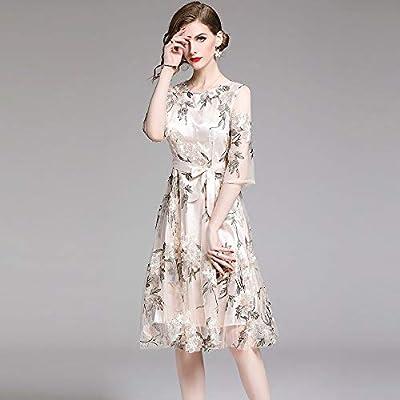 Guolyqf Mode Kleid Frauen Sommer Beilaufige Kleider Neue Art Und Weiseblumenstickerei Knielange A Line Damen Elegante Partei Kleidet Xxl Beige Amazon De Sport Freizeit