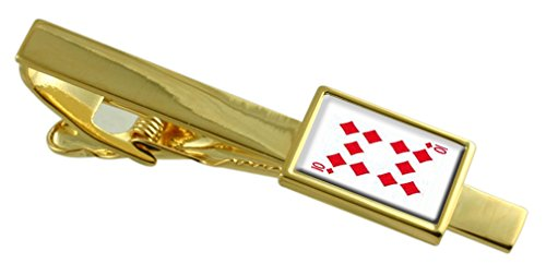 Select Gifts Diamond Playing Card Number 10 Gold-Tone Tie Clip Engraved Message Box