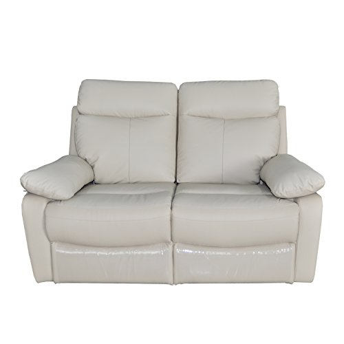 Contemporary Transitional Leather Match Loveseat with Dual Recliners, (Taupe Leather Match Recliner Loveseat)
