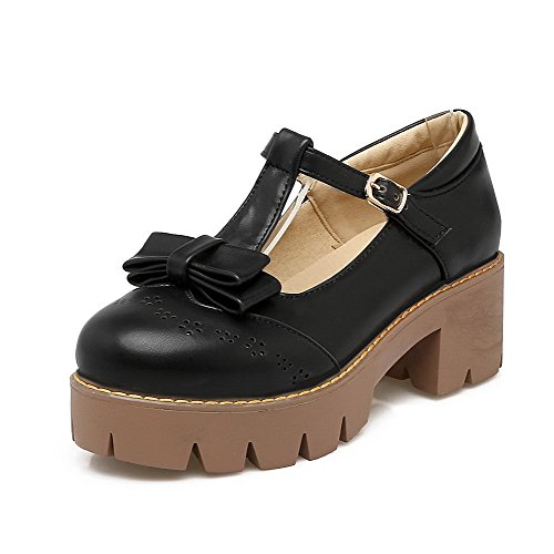 Odomolor Women's Kitten-Heels Solid Buckle PU Round-Toe Pumps-Shoes, Black, 43