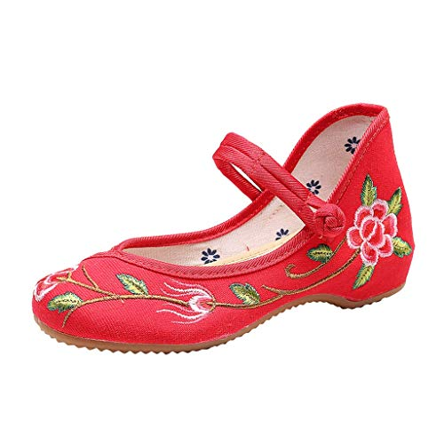 Toimothcn Embroidered Canvas Shoes Women Vintage Ankle Double Strap Ethnic Shoes (Red7,US:7.5)