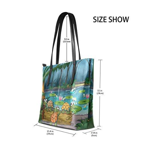 COOSUN Ein Wald mit Schildkröten und Fische am Teich PU Leder Schultertasche Handtasche und Handtaschen Tasche für Frauen