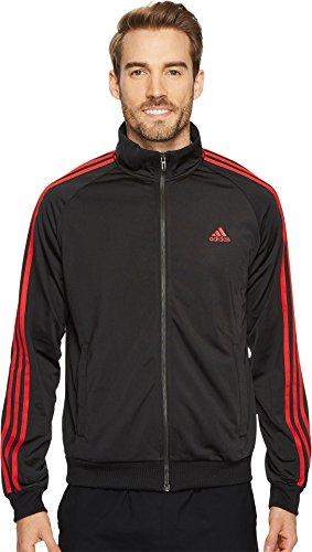 adidas Men's Essentials 3-Stripe Tricot Track Jacket, Black/Scarlet, Medium