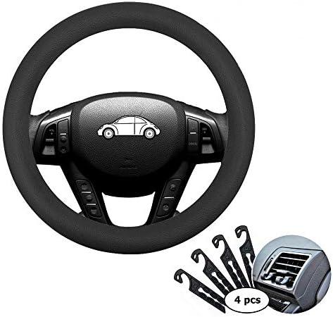 Direct Black Silicone Auto Car Steering Wheel Cover 13\u201d -15\u201d4 pcs Air Vent Hook