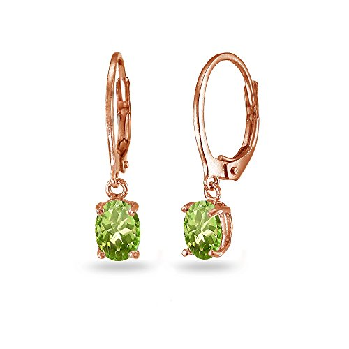 LOVVE Rose Gold Flashed Sterling Silver Peridot 7x5mm Oval Dangle Leverback Earrings