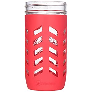 JarJackets Silicone Mason Jar Protector Sleeve, 3 PACK | Fits Ball, Kerr 24oz (1.5 pint) Wide-Mouth Jars (Poppy)