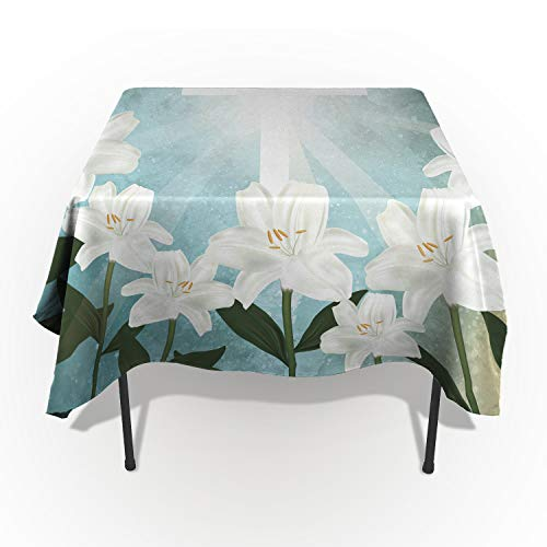 (Libaoge Easter Lily Floral Table Cloths, Wild Flowers with White Cross Under Sun Rays 60 x 140(153 x 356cm) Custom Print Table Cloth Protector, Highboy Asian Outdoor Tablecloth Rectangle)