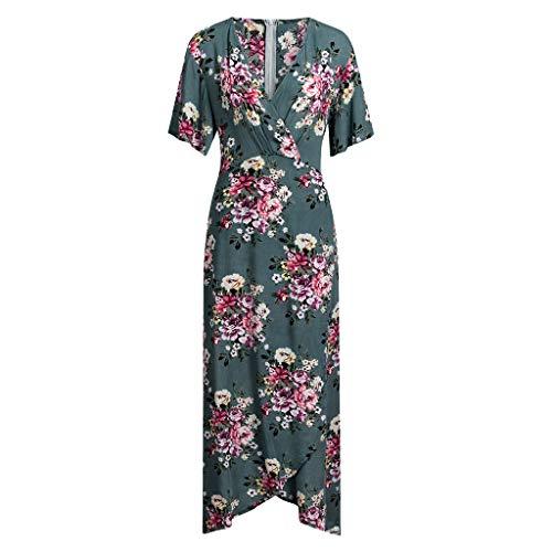 monochef Wrap Maxi Dress Short Sleeve V Neck Floral Flowy Front Slit High Low Women Summer Beach Party Wedding Dress Green