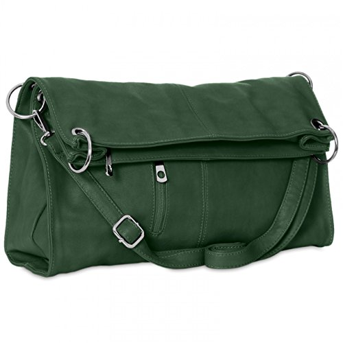 Strap Shoulder CASPAR Green with Detachable TS561 Dark Business Women Handbag Bag rIv8w7Iq