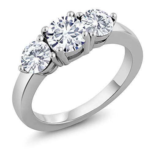 Round Moissanite 3 Stone Ring - 925 Sterling Silver 3-Stone Ring Forever Classic Round 1.80ct (DEW) Created Moissanite by Charles & Colvard (Size 9)