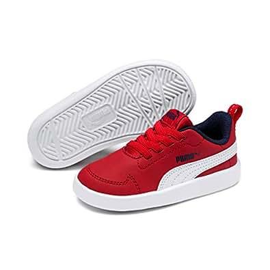 PUMA Kids Courtflex PS Sneaker, Puma White-high Risk Red-Peacoat, 1 US