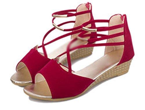 sandalias de cuña femenina panecillo de fondo grueso impermeable con los zapatos aumento de las mujeres cabeza de pescado sandalias Red