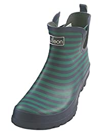 Jileon Blue Striped Ankle Rain Boots for Women - Widest Fit Boots in the US - Wide in the Foot and Ankle