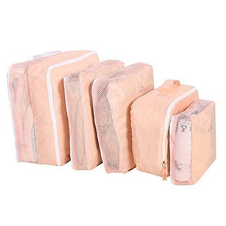 Fdit 5 Unids Bolsas de Almacenamiento de Viaje Equipaje Bolsas de Embalaje Cubos Organizadores Ropa Multifuncional Paquetes de Clasificación(Rosa)