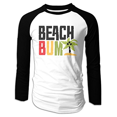 (Creamfly Mens Beach Bum Letter Long Sleeve Raglan Baseball Tshirt)