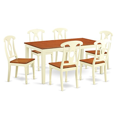 East West Furniture NIKE7-WHI-W 7 Piece Kitchen Tables and 6 Set