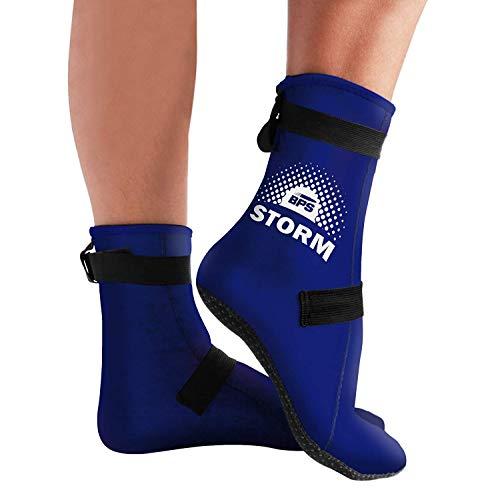 BPS 'Storm Elite Sock' Neoprene 3mm Water Socks - Wetsuit Booties for Wading, Tide Pooling, Fishing, Water Aerobics, Rafting - Neoprene High Cut Socks (Blue/White, L)