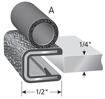 "7//16/"" Bulb Seal Diameter Fits 3//16/"" Edge 25/' Length Trim-Lok Trim Seal with Side Bulb PVC Plastic Trim with EPDM Rubber Bulb Seal"