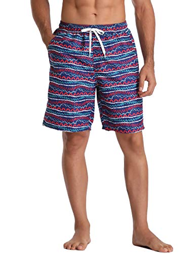 Men's Boardshorts Swim Trunks Stripe surf Shorts Drawstring Quick Dry Beach Pants 30