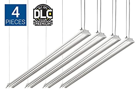 HyperSelect LED Shop Lights, 4ft Garage Utility LED Light Integrated Fixture, 35W (100W Eq.), 3800 Lumens, 5000K, DLC 4.2 , Clear Cover - Perfect for Garages, Workshops, Warehouses and Barns - 4 Pack