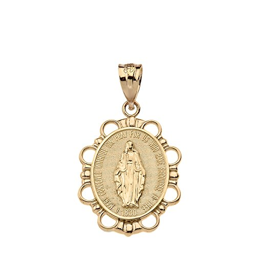 Solid 10k Yellow Gold Miraculous Medal Of Blessed Virgin Mary Pendant (Small)