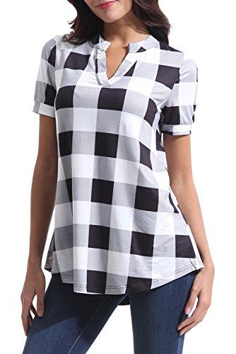 Zattcas Womens Plaid Tunic Tops Summer Short Sleeve V Neck High Low Blouse Shirt Tops (XX-Large, White)