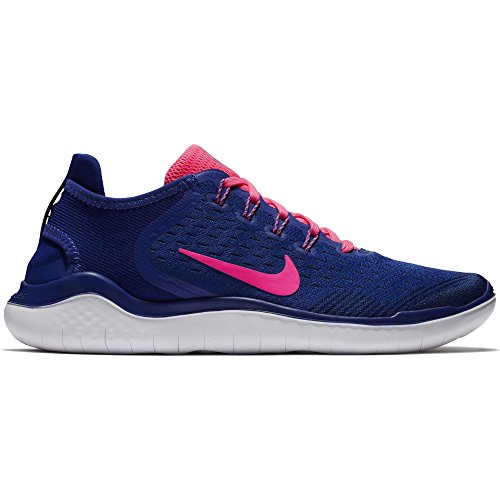 (NIKE Women's Free RN 2018 Running Shoe Deep Royal Blue/Pink Blast/Obsidian Size 9 M US)