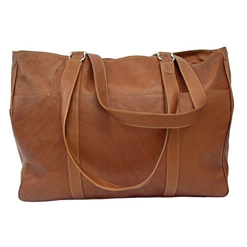 Piel Leather Large Shopping Bag in Saddle by Piel Leather