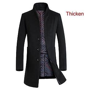 Lavnis Men's Trench Coat Long Wool Blend Slim Fit Jacket Overcoat