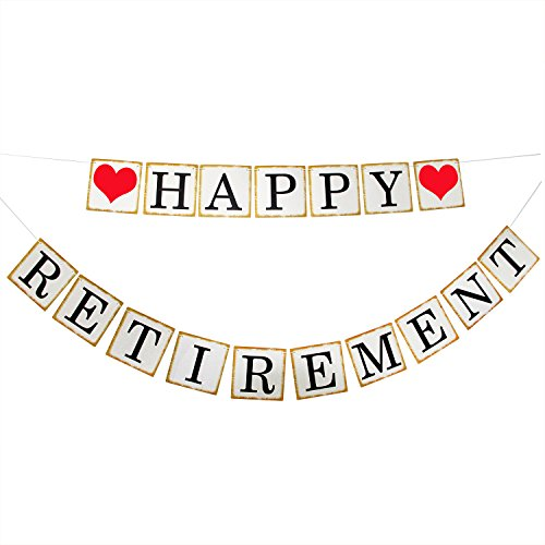 Happy Retirement Banner Sign - Retirement Party Supplies Favors ,Gifts and Decorations (Store Decorations)