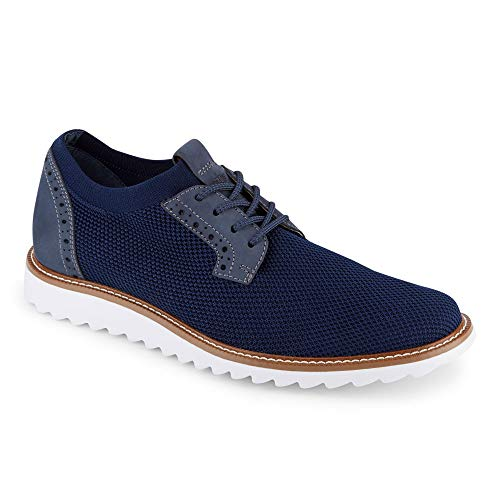 Dockers Mens Einstein Knit/Leather Smart Series Dress Casual Oxford Shoe with NeverWet, Navy, 9.5 M