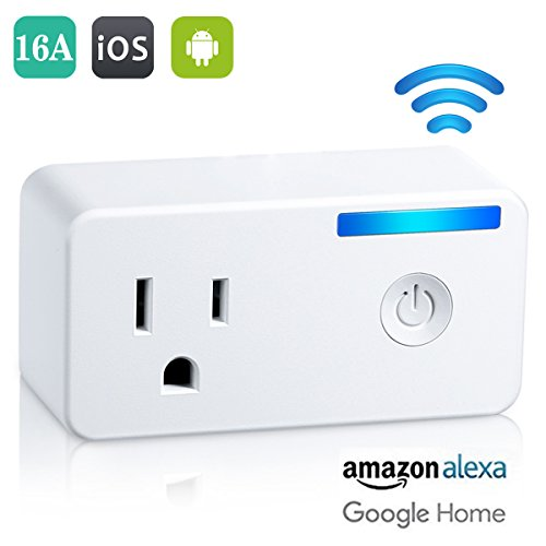 Wifi Smart Plug – Tocode Upgrade 16A Wireless Switch Outlet Plug Works with Amazon Alexa and Google Home – No Hub Required, Remotely Operate Your Devices from Anywhere (Plug 16a)