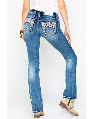 Miss Me Women's Floral Embellished Bootcut Jeans in Medium Blue Medium Blue 28 34