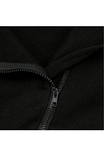 Bolsillo con Plus De Black Tamaño Manga Midi Chaqueta Sudadera La Outcoat Cremallera Zilcremo Casual Gruesa Mujer Larga xwSYfZOq