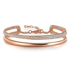 Angelady Bracelet Bague Femme Argent Bracelet Or Rose Cristaux d'Autriche Bracelet Personnalisé Bracelet Jonc Cadeau…