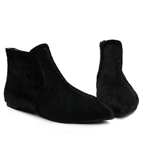De Botas black Señoras mujeres las de femeninas para Piso 32 Botas tobillo Puntiagudo Cachemira plano planas 41 Botas BLACK damas con PqPTrAw