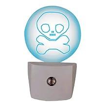 Globe Electric 89168 LED Automatic Laser Sketched Skull Night Light, Pewter Finish