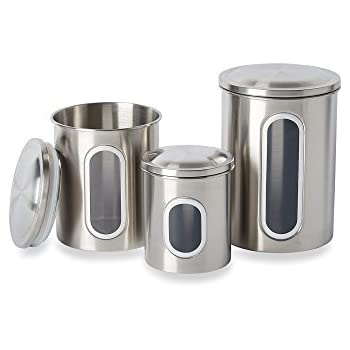 Amazoncom Home Basics Cs44445 4 Piece Stainless Steel Canister