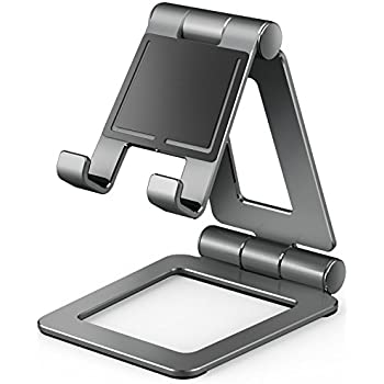Cell Phone Stand, Adjustable Tablet Stand, Universal Dual Foldable iPhone Stand Multi Angle phone Holder for Switch, iPad,Samsung, Nexus, iPhone X, Other Tablets (4-12 inch) -Space Gray