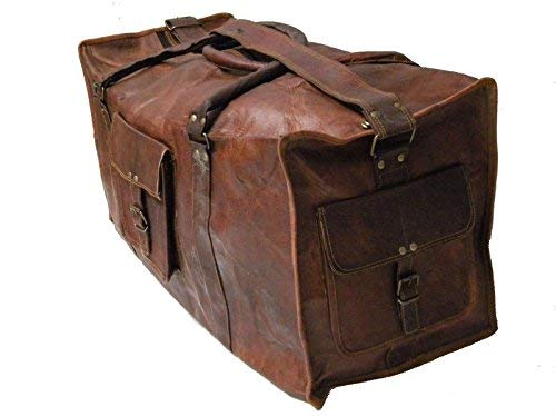 24″ Large leather Travel Bag Duffel bag Gym sports flight cabin bag Leather Holdall Overnight Weekend Large luggage bag