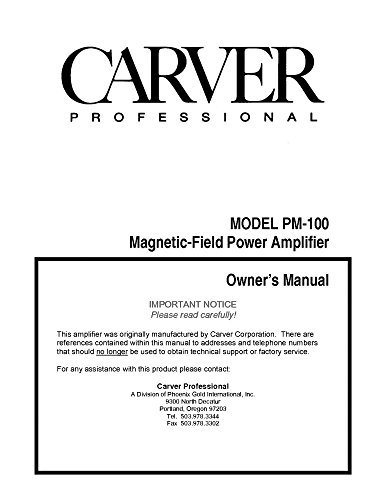 Carver PM-100 Amplifier Owners Instruction Manual Reprint [Plastic Comb]