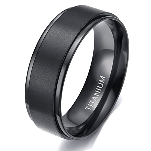 TIGRADE 8MM Comfort Fit Titanium Wedding Band | Engagement Ring with Black Plated and Brushed Top finish | Grooved Polished Edges(8) ()
