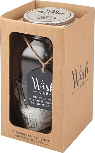 Top Shelf 70th Birthday Wish Jar, Memorable Gifts for Men and Women ; Kit Comes with 100 Tickets and Decorative Lid, Clear by Top Shelf