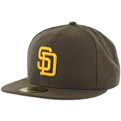 New Era 59Fifty San Diego Padres Cooperstown Fitted Hat (Brown/Gold) MLB (Cooperstown Fitted Cap)
