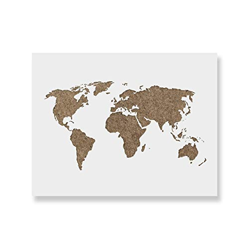 World Map Stencil Template for Walls and Crafts - Reusable Stencils for Painting in Small & Large Sizes