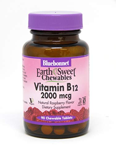 Bluebonnet Nutrition Vitamin B-12 2000mcg, 90 Chewable (Raspberry Flavored Chewable Tablets)
